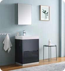 "Fresca Senza Valencia 24"" Dark Slate Gray Free Standing  Bathroom Vanity w/ Medicine Cabinet"