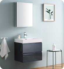 """Fresca Senza Valencia 24"""" Dark Slate Gray Wall Hung  Bathroom Vanity w/ Medicine Cabinet"""