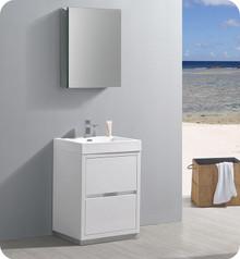 "Fresca Senza Valencia 24"" Glossy White Free Standing  Bathroom Vanity w/ Medicine Cabinet"