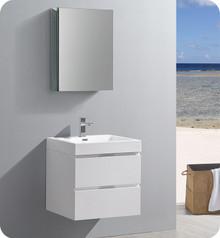 "Fresca Senza Valencia 24"" Glossy White Wall Hung  Bathroom Vanity w/ Medicine Cabinet"