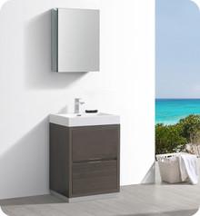 """Fresca Senza Valencia 24"""" Gray Oak Free Standing  Bathroom Vanity w/ Medicine Cabinet"""