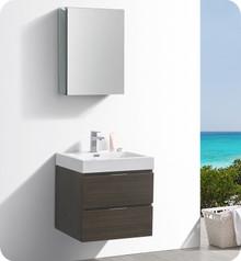 """Fresca Senza Valencia 24"""" Gray Oak Wall Hung  Bathroom Vanity w/ Medicine Cabinet"""
