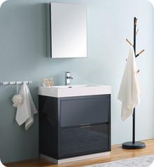 "Fresca Senza Valencia 30"" Dark Slate Gray Free Standing  Bathroom Vanity w/ Medicine Cabinet"