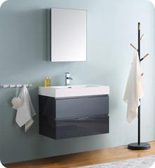 """Fresca Senza Valencia 30"""" Dark Slate Gray Wall Hung  Bathroom Vanity w/ Medicine Cabinet"""