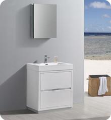 "Fresca Senza Valencia 30"" Glossy White Free Standing  Bathroom Vanity w/ Medicine Cabinet"