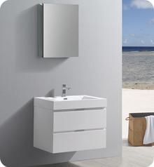 "Fresca Senza Valencia 30"" Glossy White Wall Hung  Bathroom Vanity w/ Medicine Cabinet"