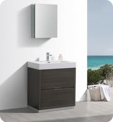 """Fresca Senza Valencia 30"""" Gray Oak Free Standing  Bathroom Vanity w/ Medicine Cabinet"""
