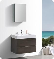 """Fresca Senza Valencia 30"""" Gray Oak Wall Hung  Bathroom Vanity w/ Medicine Cabinet"""