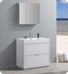 "Fresca Senza Valencia 36"" Glossy White Free Standing  Bathroom Vanity w/ Medicine Cabinet"