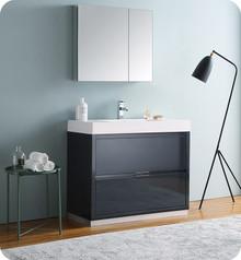 "Fresca Senza Valencia 40"" Dark Slate Gray Free Standing  Bathroom Vanity w/ Medicine Cabinet"