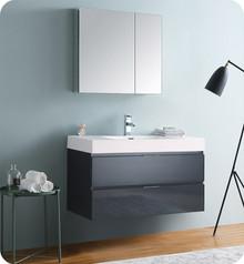 """Fresca Senza Valencia 40"""" Dark Slate Gray Wall Hung  Bathroom Vanity w/ Medicine Cabinet"""