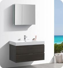 """Fresca Senza Valencia 40"""" Gray Oak Wall Hung  Bathroom Vanity w/ Medicine Cabinet"""