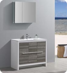 """Fresca Trieste Allier Rio 40"""" Ash Gray  Bathroom Vanity w/ Medicine Cabinet"""