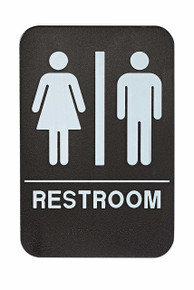 Alpine ALPSGN-1  Unisex Restroom Sign, Black/White, ADA Compliant