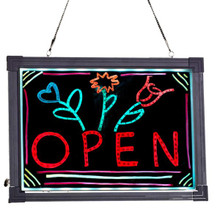 "Alpine 495-01 LED Illuminated Hanging Message Writing Board 12"" x 16 "" - Black"