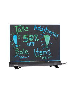 "Alpine 496-02 LED Flashing Eraseable Message Board with Acrylic Writing Panel 12"" x 16"" - Black"
