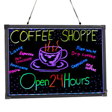 "Alpine 495-03 LED Illuminated Hanging Message Writing Board 20"" x 28"" - Black"