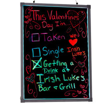 "Alpine 495-04 LED Illuminated Hanging Message Writing Board 24"" x 32"" - Black"
