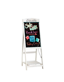 "Alpine 491-03 LED Illuminated Wooden Message Writing Board on an A-Stand plus Shelf 16"" x 45"" - White"