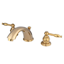 "Kingston Brass Two Handle 4"" to 8"" Mini Widespread Lavatory Faucet with Pop-Up Drain Drain - Polished Brass KB962KL"