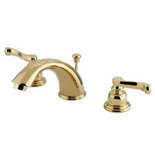 "Kingston Brass Two Handle 4"" to 8"" Mini Widespread Lavatory Faucet with Pop-Up Drain Drain - Polished Brass KB962FL"