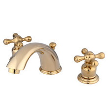 "Kingston Brass Two Handle 4"" to 8"" Mini Widespread Lavatory Faucet with Pop-Up Drain Drain - Polished Brass KB962AX"