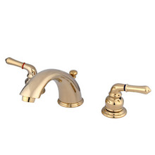 "Kingston Brass Two Handle 4"" to 8"" Mini Widespread Lavatory Faucet with Pop-Up Drain Drain - Polished Brass KB962"
