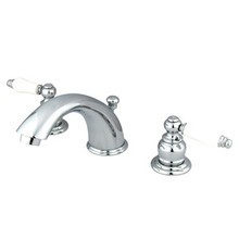 "Kingston Brass Two Handle 4"" to 8"" Mini Widespread Lavatory Faucet with Pop-Up Drain Drain - Polished Chrome KB961PL"