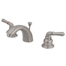"""Kingston Brass Two Handle 4"""" to 8"""" Mini Widespread Lavatory Faucet with Pop-Up Drain Drain - Satin Nickel KB958"""