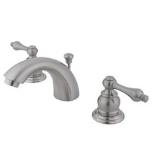"""Kingston Brass Two Handle 4"""" to 8"""" Mini Widespread Lavatory Faucet with Pop-Up Drain Drain - Satin Nickel KB948AL"""