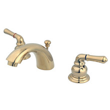 "Kingston Brass Two Handle 4"" to 8"" Mini Widespread Lavatory Faucet with Pop-Up Drain Drain - Polished Brass KB952"