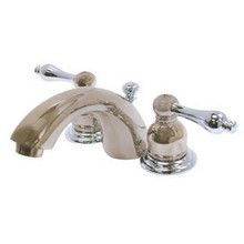"""Kingston Brass Two Handle 4"""" to 8"""" Mini Widespread Lavatory Faucet with Pop-Up Drain Drain - Satin Nickel/Polished Chrome KB947AL"""