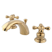 "Kingston Brass Two Handle 4"" to 8"" Mini Widespread Lavatory Faucet with Pop-Up Drain Drain - Polished Brass KB942AX"