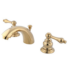 "Kingston Brass Two Handle 4"" to 8"" Mini Widespread Lavatory Faucet with Pop-Up Drain Drain - Polished Brass KB942AL"