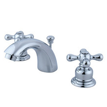 "Kingston Brass Two Handle 4"" to 8"" Mini Widespread Lavatory Faucet with Pop-Up Drain Drain - Polished Chrome KB941AX"