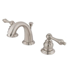 "Kingston Brass Two Handle 4"" to 8"" Mini Widespread Lavatory Faucet with Pop-Up Drain Drain - Satin Nickel KB918AL"