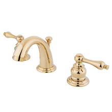 "Kingston Brass Two Handle 4"" to 8"" Mini Widespread Lavatory Faucet with Pop-Up Drain Drain - Polished Brass KB912AL"