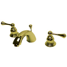 "Kingston Brass Two Handle 4"" to 8"" Mini Widespread Lavatory Faucet with Pop-Up Drain Drain - Polished Brass"