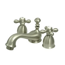 "Kingston Brass Two Handle 4"" to 8"" Mini Widespread Lavatory Faucet with Brass Pop-Up Drain - Satin Nickel KS3958AX"