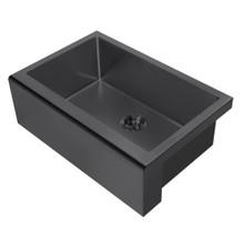 Whitehaus WHNPL3020-MBLK Noah Plus 16 Gauge Single Bowl Matte Textured Undermount Sink with Seamless Front Apron - Matte Black