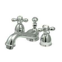"Kingston Brass Two Handle 4"" to 8"" Mini Widespread Lavatory Faucet with Brass Pop-Up Drain - Polished Chrome KS3951AX"
