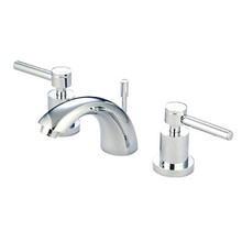 "Kingston Brass Two Handle 4"" to 8"" Mini Widespread Lavatory Faucet with Brass Pop-Up Drain - Polished Chrome KS2951DL"