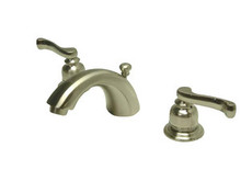 "Kingston Brass Two Handle 4"" to 8"" Mini Widespread Lavatory Faucet with Brass Pop-Up Drain - Satin Nickel KB8958FL"