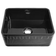 Whitehaus WHFLATN2418-BLACK Farmhaus Fireclay Reversible Sink with Castlehaus Design or Fluted Front Apron - Black