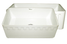 Whitehaus WHFLATN3018-BISCUIT Farmhaus Fireclay Reversible Sink with Castlehaus Design or Fluted Front Apron - Biscuit