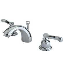 "Kingston Brass Two Handle 4"" to 8"" Mini Widespread Lavatory Faucet with Brass Pop-Up Drain - Polished Chrome KB8951FL"