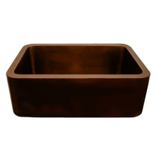 Whitehaus WH2519COFC-OBS Copperhaus Rectangular Undermount Sink with Smooth Front Apron - Smooth Bronze