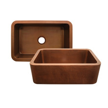 Whitehaus WH3020COFC-OCH Copperhaus Rectangular Undermount Sink with Hammered Front Apron - Hammered Copper