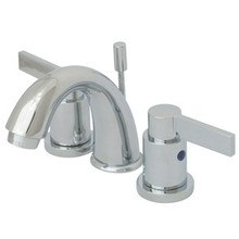 "Kingston Brass Two Handle 4"" to 8"" Mini Widespread Lavatory Faucet with Brass Pop-Up Drain - Polished Chrome KB8911NDL"