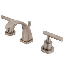 "Kingston Brass Two Handle 4"" to 8"" Mini Widespread Lavatory Faucet with Brass Pop-Up Drain - Satin Nickel KS4948CML"